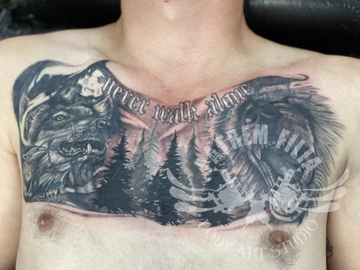 Beer en wolf cover up Tattoeages